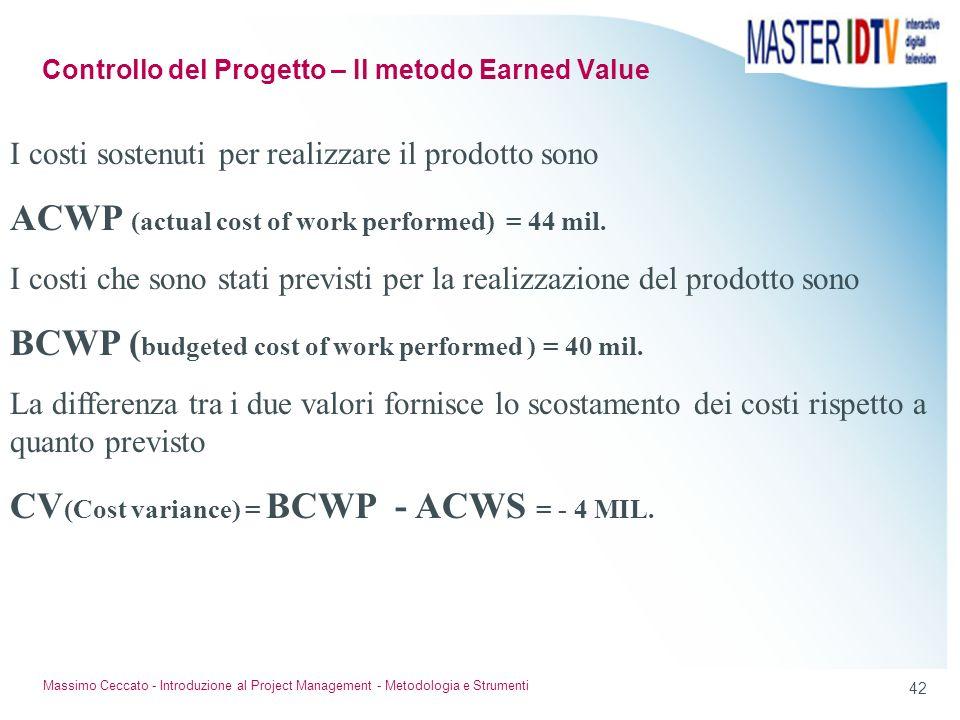 41 Massimo Ceccato - Introduzione al Project Management - Metodologia e Strumenti Esempio Le risorse umane sono costate 36 milioni,i materiali 8 milio
