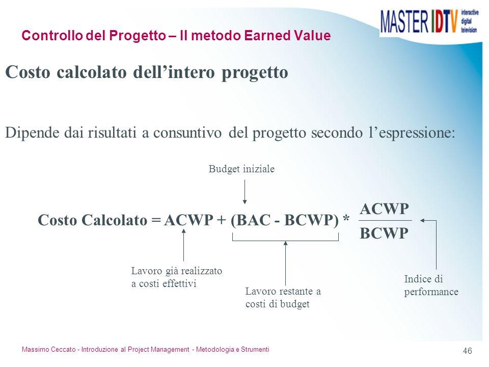 45 Massimo Ceccato - Introduzione al Project Management - Metodologia e Strumenti Costo stimato dellintero progetto Si basa su Risultati ottenuti Prev