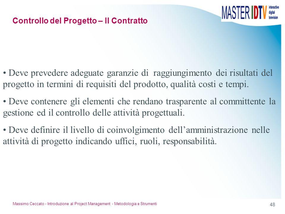 47 Massimo Ceccato - Introduzione al Project Management - Metodologia e Strumenti Stima a finire tempo Lit. Time now budget Costo stimato Costo calcol