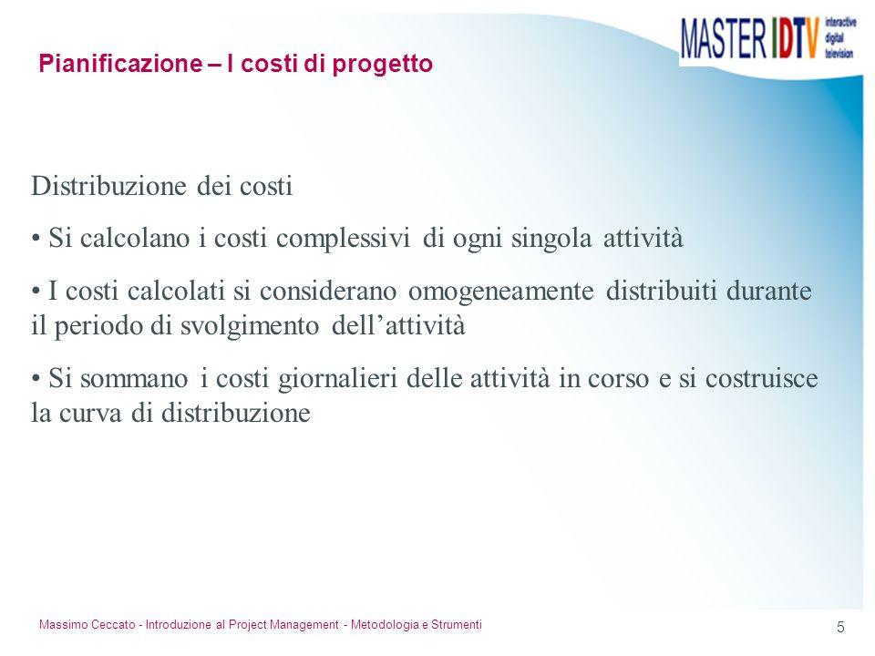 4 Massimo Ceccato - Introduzione al Project Management - Metodologia e Strumenti Individuazione dei Costi: Costi diretti: si riferiscono ai costi dell