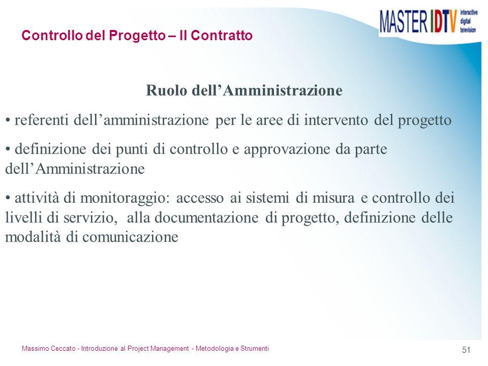 50 Massimo Ceccato - Introduzione al Project Management - Metodologia e Strumenti Trasparenza di gestione definizione degli eventi di uscita: prodotti