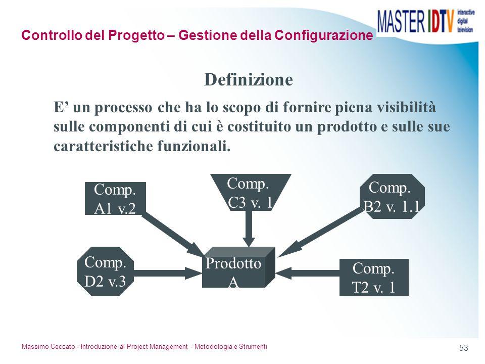 52 Massimo Ceccato - Introduzione al Project Management - Metodologia e Strumenti Strumenti software per il PM Le funzionalità principali: rappresenta
