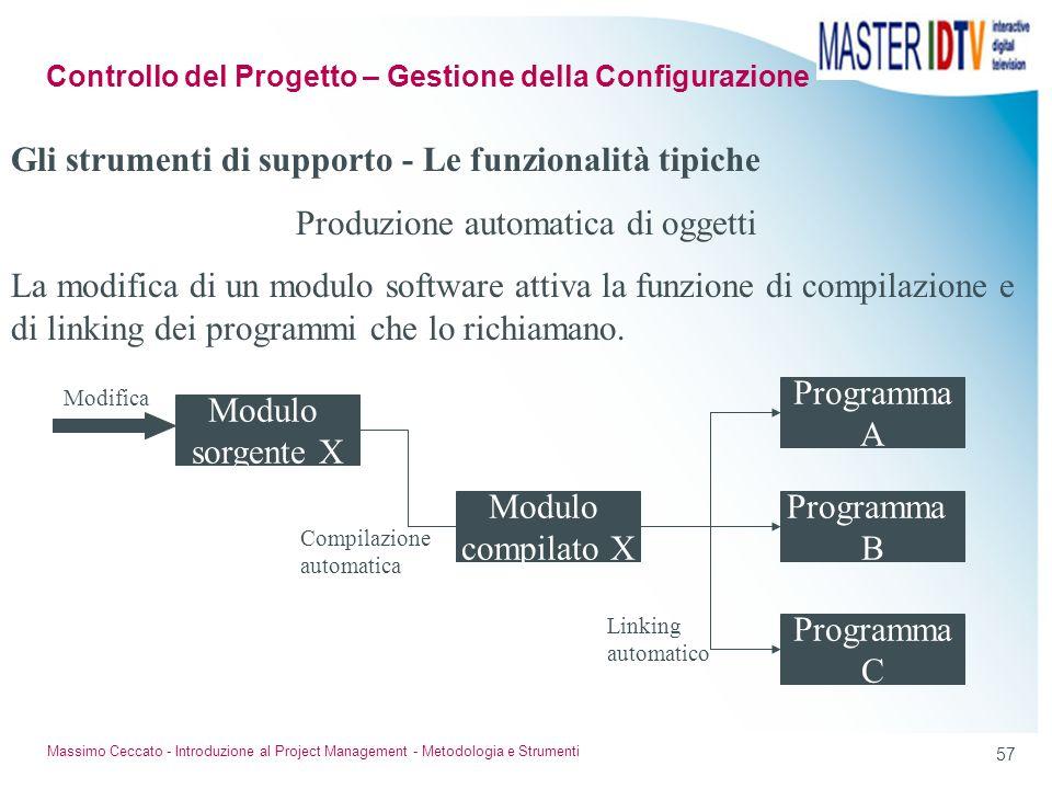 56 Massimo Ceccato - Introduzione al Project Management - Metodologia e Strumenti Durante lorganizzazione e la pianificazione del progetto si dovranno