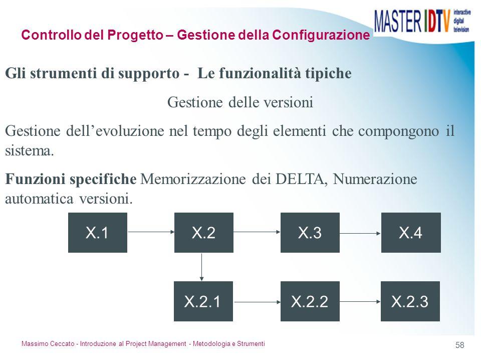 57 Massimo Ceccato - Introduzione al Project Management - Metodologia e Strumenti Gli strumenti di supporto - Le funzionalità tipiche Produzione autom