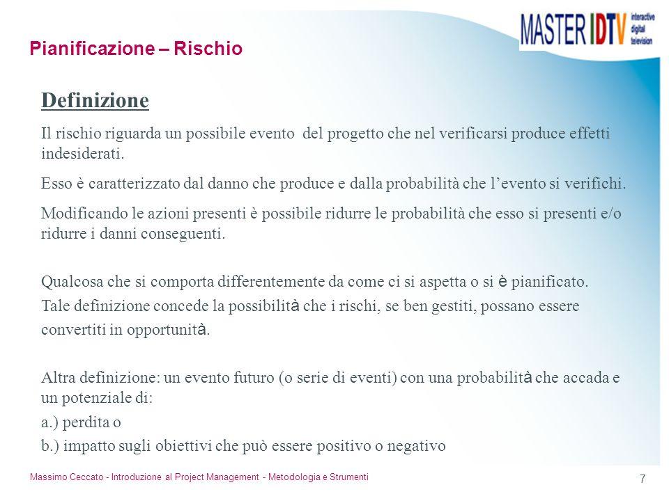 6 Massimo Ceccato - Introduzione al Project Management - Metodologia e Strumenti Curva tipica di distribuzione dei costi Pianificazione – I costi di p