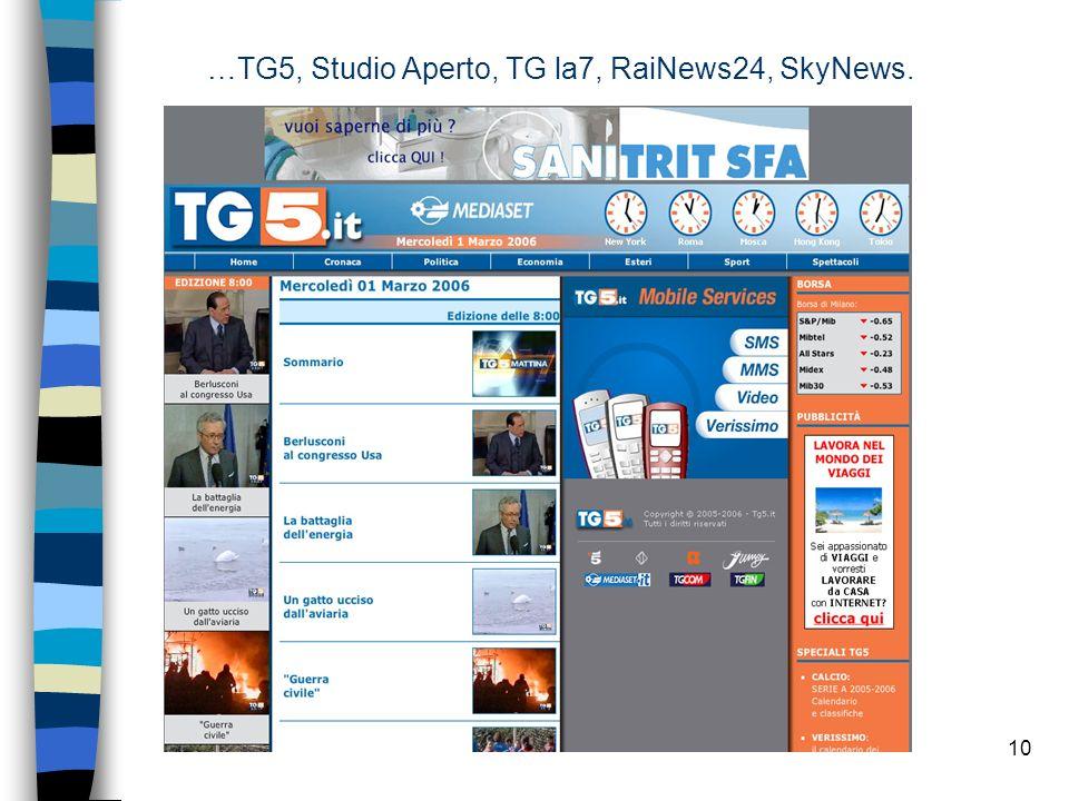 10 …TG5, Studio Aperto, TG la7, RaiNews24, SkyNews.