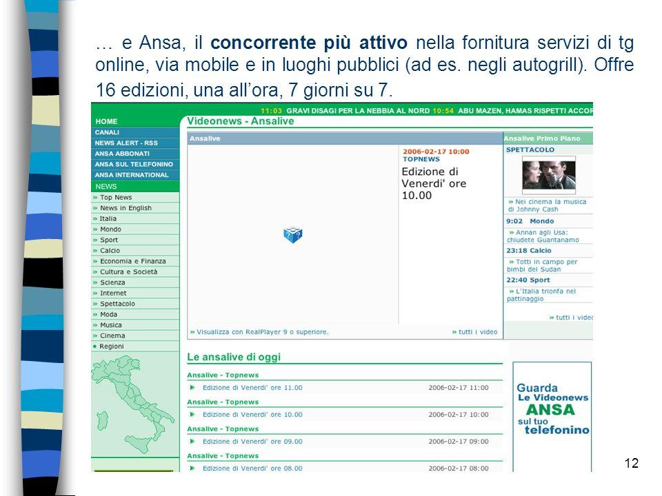 12 … e Ansa, il concorrente più attivo nella fornitura servizi di tg online, via mobile e in luoghi pubblici (ad es.