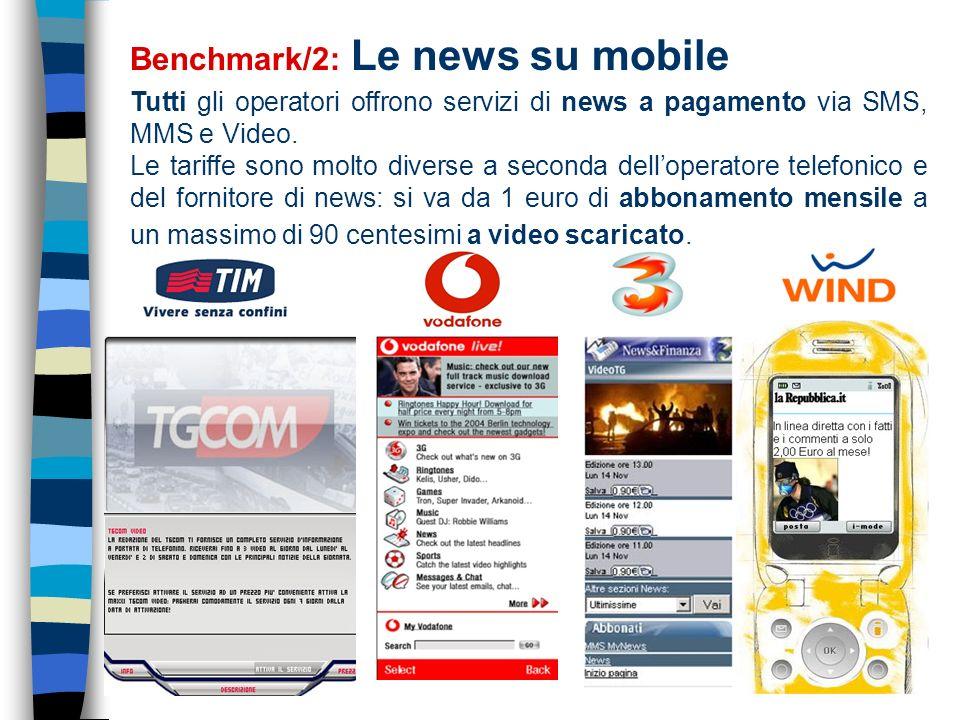 13 Benchmark/2: Le news su mobile Tutti gli operatori offrono servizi di news a pagamento via SMS, MMS e Video.