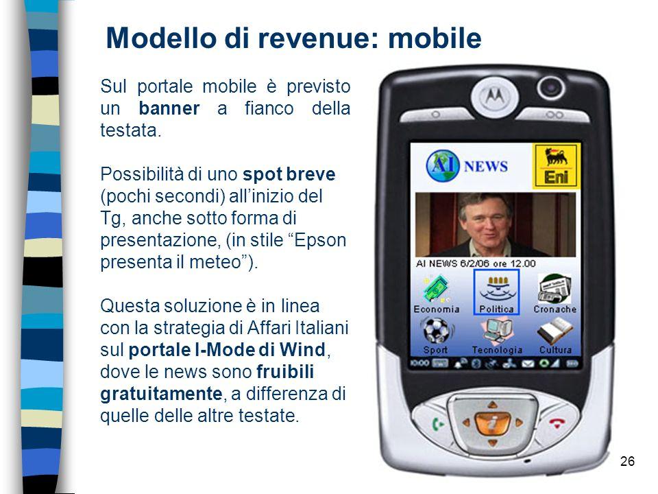 26 Modello di revenue: mobile Sul portale mobile è previsto un banner a fianco della testata.
