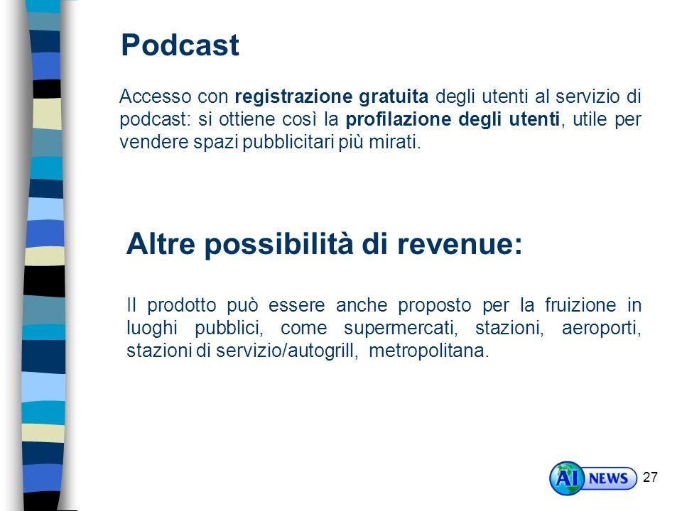27 Podcast Accesso con registrazione gratuita degli utenti al servizio di podcast: si ottiene così la profilazione degli utenti, utile per vendere spazi pubblicitari più mirati.