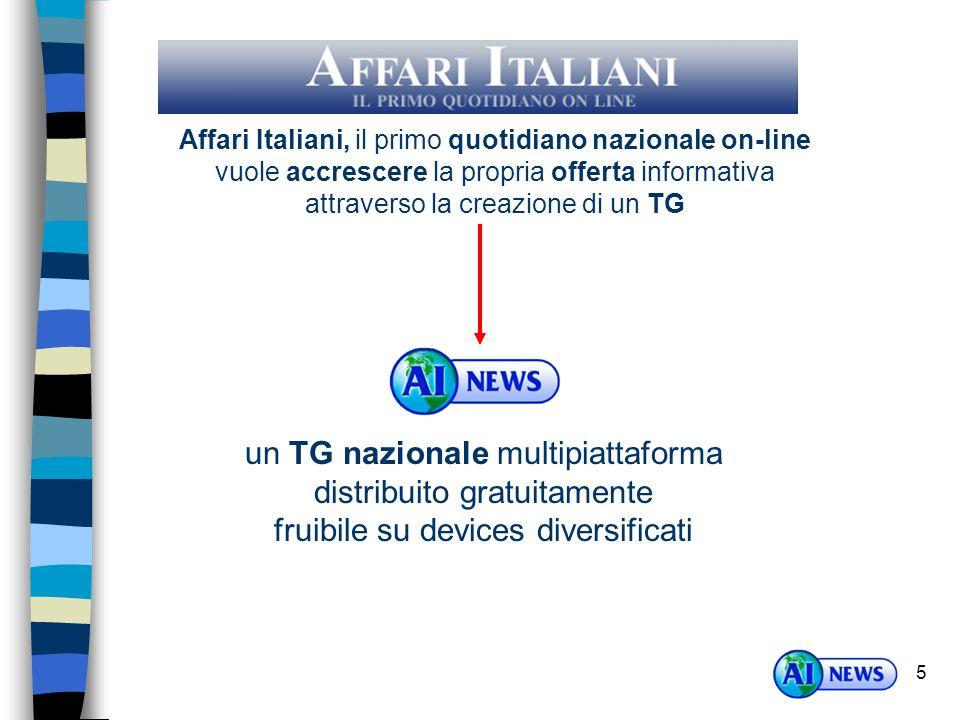 5 Affari Italiani, il primo quotidiano nazionale on-line vuole accrescere la propria offerta informativa attraverso la creazione di un TG un TG nazionale multipiattaforma distribuito gratuitamente fruibile su devices diversificati