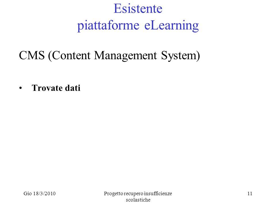 Gio 18/3/2010Progetto recupero insufficienze scolastiche 11 Esistente piattaforme eLearning CMS (Content Management System) Trovate dati