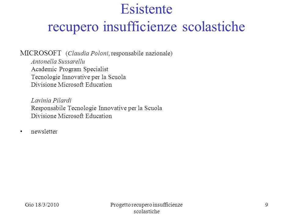 Gio 18/3/2010Progetto recupero insufficienze scolastiche 9 Esistente recupero insufficienze scolastiche MICROSOFT (Claudia Poloni, responsabile nazion