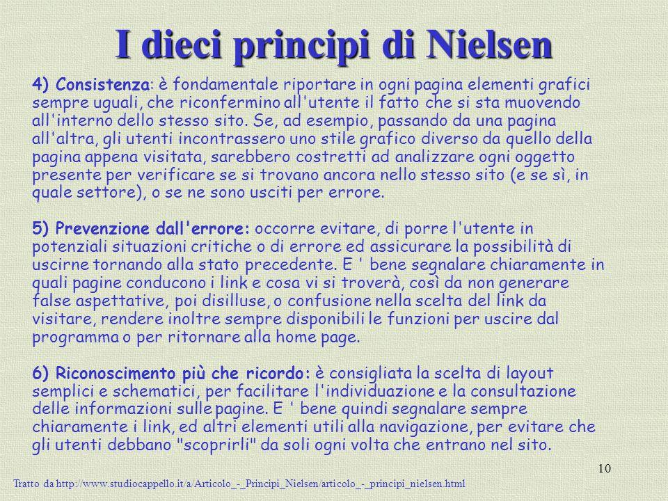 10 I dieci principi di Nielsen 4) Consistenza: è fondamentale riportare in ogni pagina elementi grafici sempre uguali, che riconfermino all'utente il