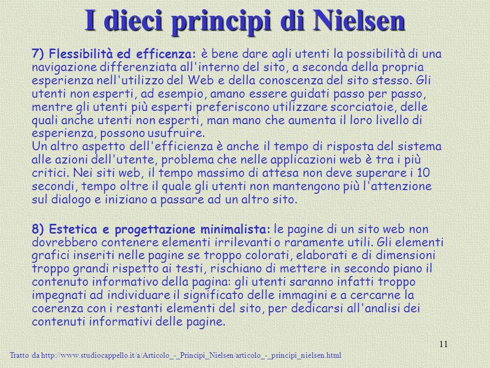 11 I dieci principi di Nielsen 7) Flessibilità ed efficenza: è bene dare agli utenti la possibilità di una navigazione differenziata all'interno del s