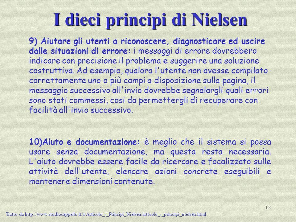 12 I dieci principi di Nielsen 9) Aiutare gli utenti a riconoscere, diagnosticare ed uscire dalle situazioni di errore: i messaggi di errore dovrebber