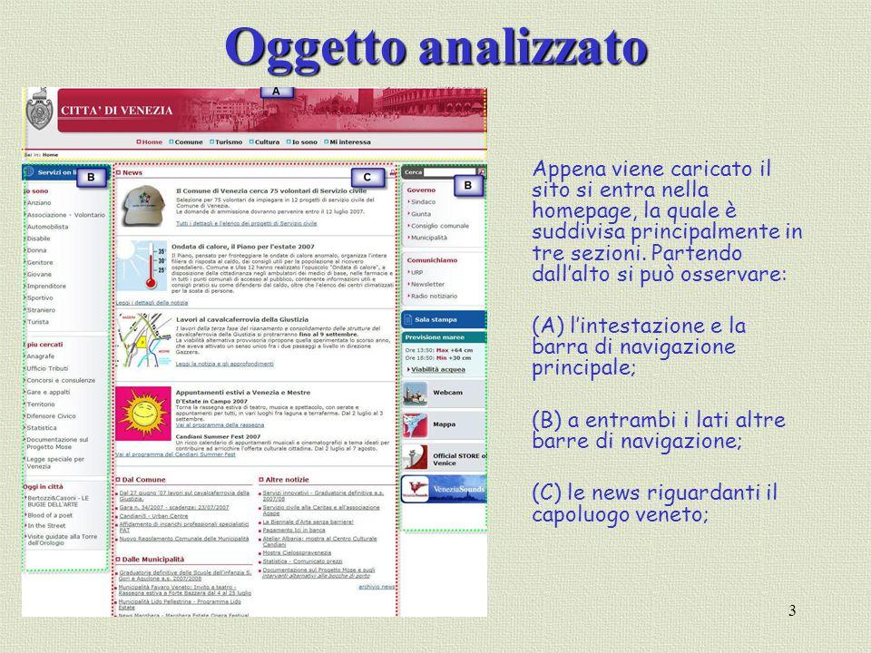 3 Oggetto analizzato Appena viene caricato il sito si entra nella homepage, la quale è suddivisa principalmente in tre sezioni. Partendo dallalto si p