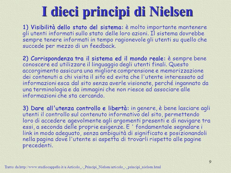 9 I dieci principi di Nielsen 1) Visibilità dello stato del sistema: è molto importante mantenere gli utenti informati sullo stato delle loro azioni.