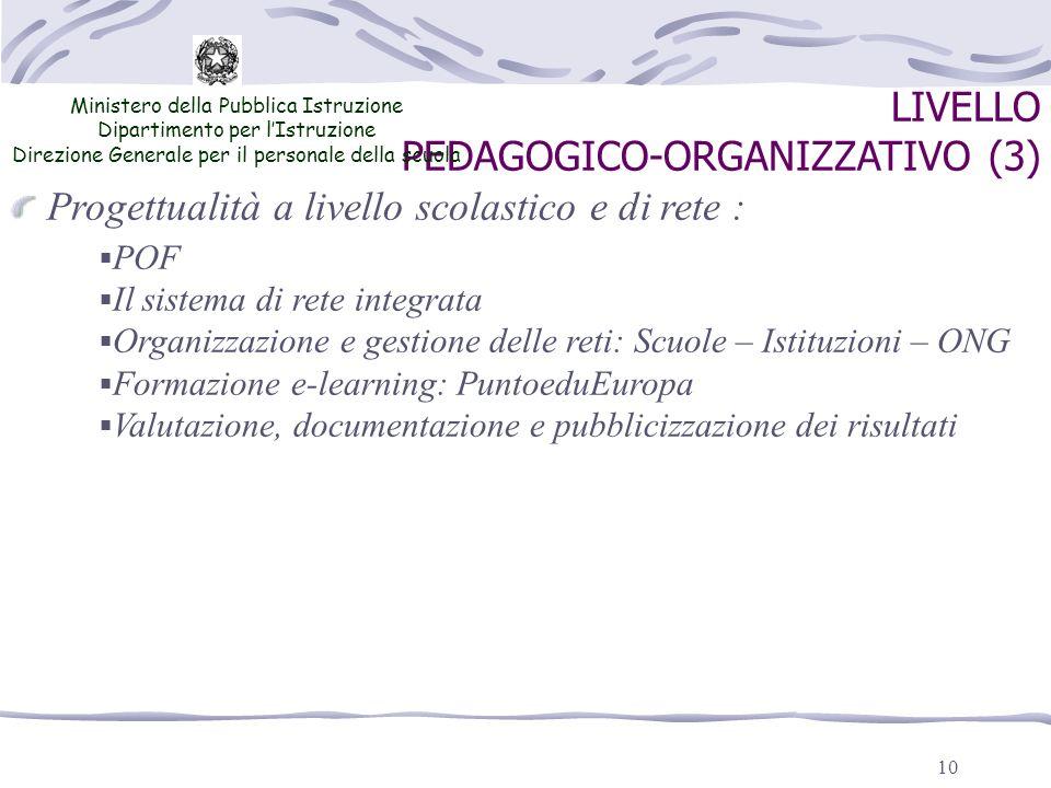 10 LIVELLO PEDAGOGICO-ORGANIZZATIVO (3) Ministero della Pubblica Istruzione Dipartimento per lIstruzione Direzione Generale per il personale della scu