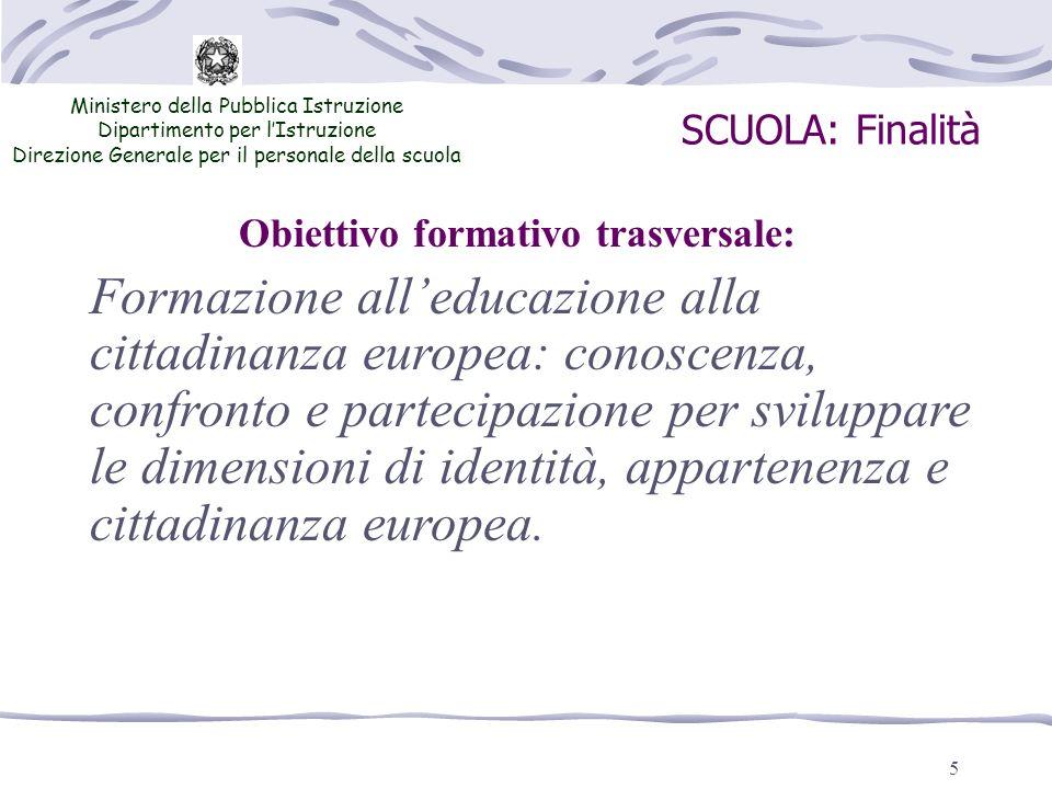 5 SCUOLA: Finalità Ministero della Pubblica Istruzione Dipartimento per lIstruzione Direzione Generale per il personale della scuola Formazione alledu