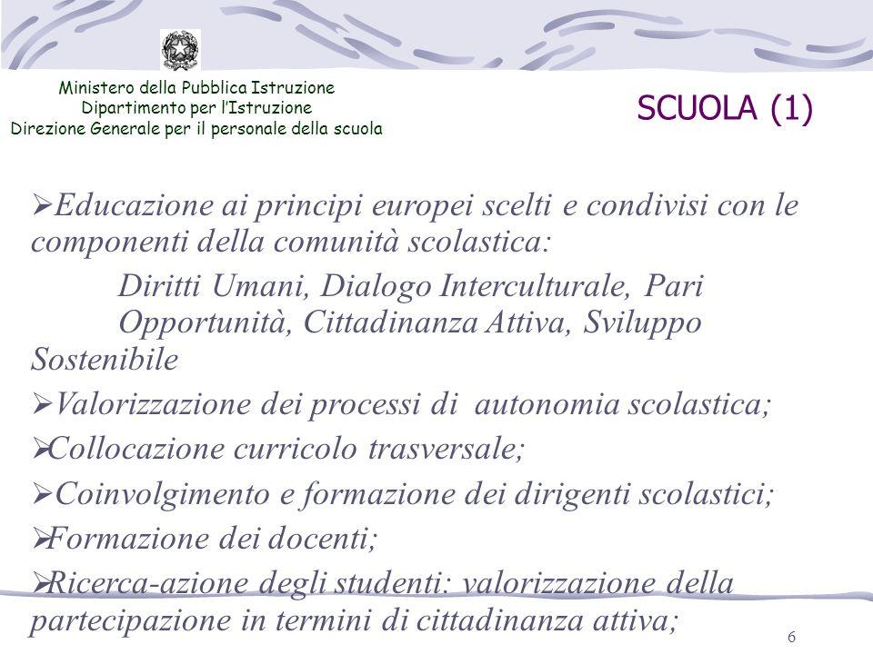 6 SCUOLA (1) Ministero della Pubblica Istruzione Dipartimento per lIstruzione Direzione Generale per il personale della scuola Educazione ai principi