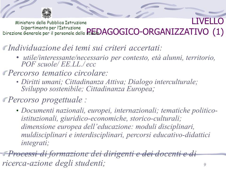 9 LIVELLO PEDAGOGICO-ORGANIZZATIVO (1) Ministero della Pubblica Istruzione Dipartimento per lIstruzione Direzione Generale per il personale della scuo