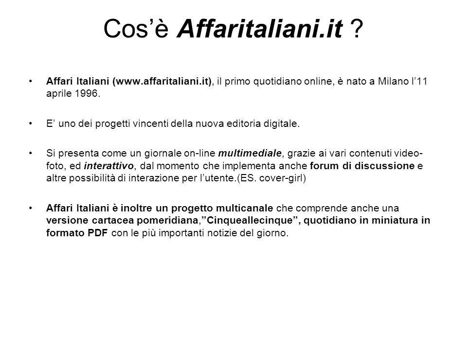 Cosè Affaritaliani.it .
