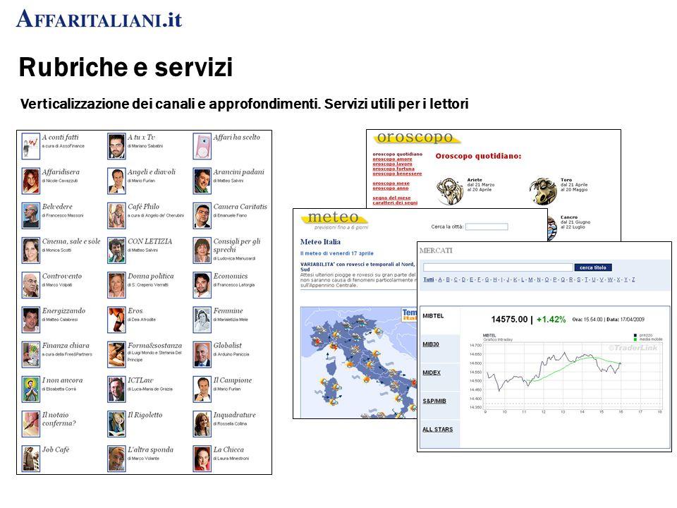 Rubriche e servizi Verticalizzazione dei canali e approfondimenti. Servizi utili per i lettori