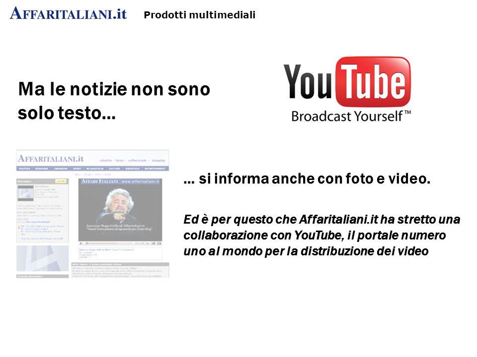 Prodotti multimediali Ma le notizie non sono solo testo… … si informa anche con foto e video.