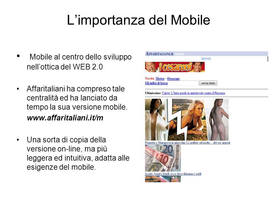 Limportanza del Mobile Mobile al centro dello sviluppo nellottica del WEB 2.0 Affaritaliani ha compreso tale centralità ed ha lanciato da tempo la sua versione mobile.