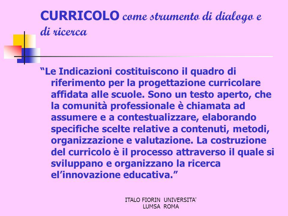 ITALO FIORIN UNIVERSITA' LUMSA ROMA CURRICOLO come strumento di dialogo e di ricerca Le Indicazioni costituiscono il quadro di riferimento per la prog