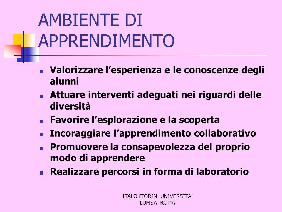 ITALO FIORIN UNIVERSITA' LUMSA ROMA AMBIENTE DI APPRENDIMENTO Valorizzare lesperienza e le conoscenze degli alunni Attuare interventi adeguati nei rig