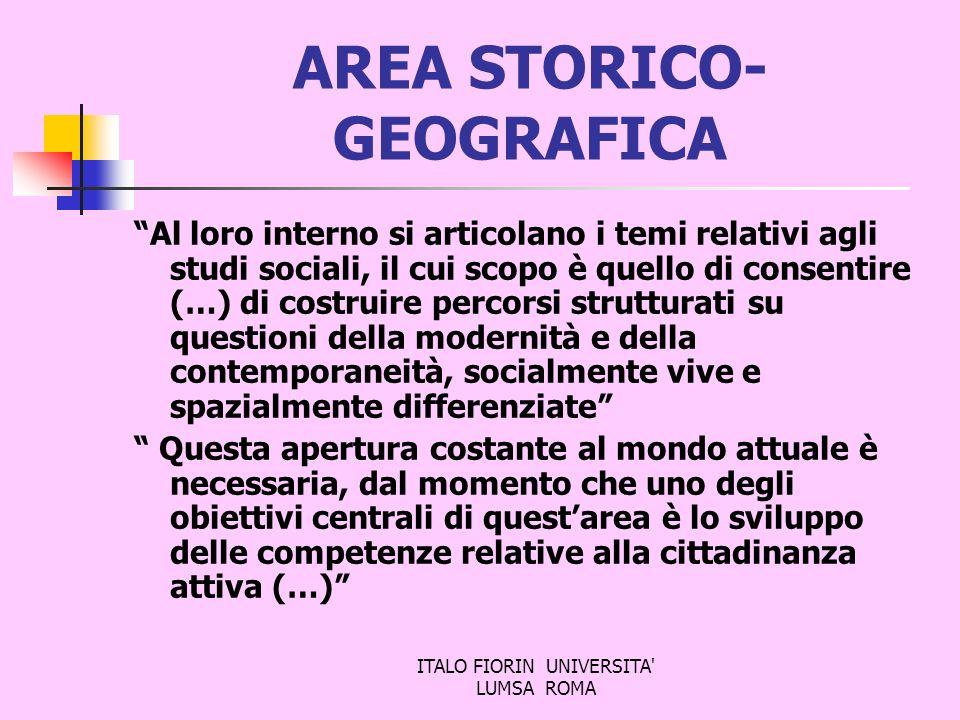 ITALO FIORIN UNIVERSITA' LUMSA ROMA AREA STORICO- GEOGRAFICA Al loro interno si articolano i temi relativi agli studi sociali, il cui scopo è quello d