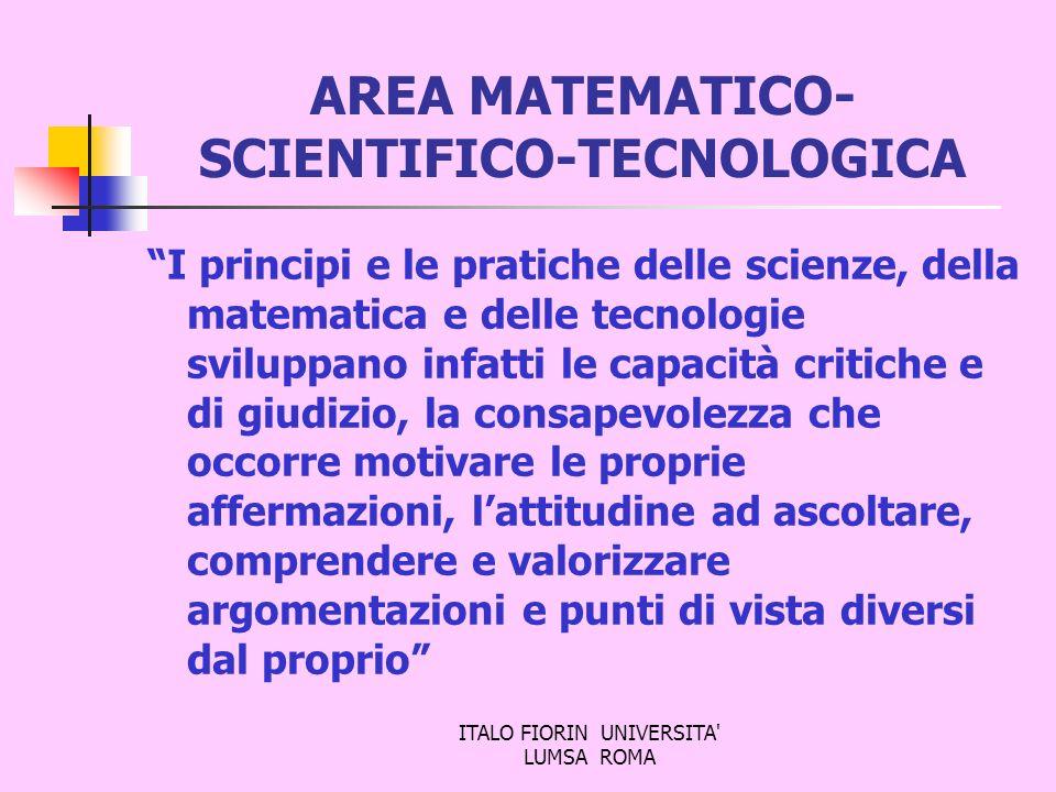 ITALO FIORIN UNIVERSITA' LUMSA ROMA AREA MATEMATICO- SCIENTIFICO-TECNOLOGICA I principi e le pratiche delle scienze, della matematica e delle tecnolog