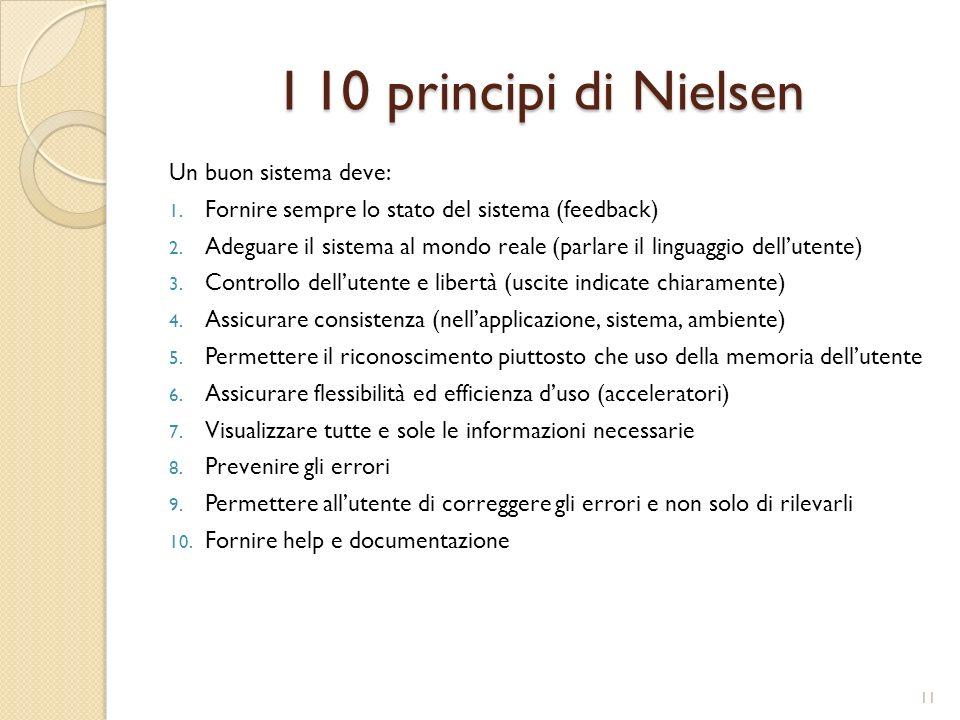 I 10 principi di Nielsen Un buon sistema deve: 1.Fornire sempre lo stato del sistema (feedback) 2.