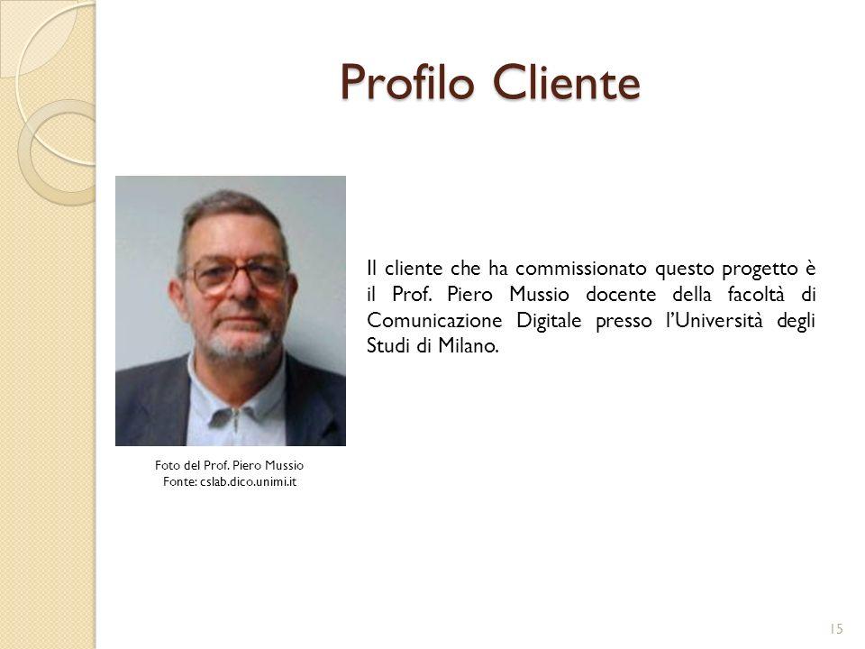 Profilo Cliente Il cliente che ha commissionato questo progetto è il Prof.