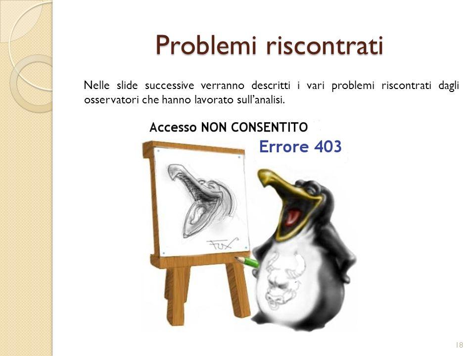 Problemi riscontrati Nelle slide successive verranno descritti i vari problemi riscontrati dagli osservatori che hanno lavorato sullanalisi.