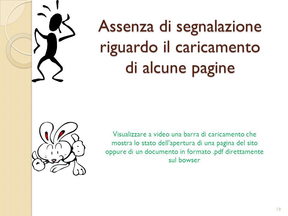 Assenza di segnalazione riguardo il caricamento di alcune pagine Visualizzare a video una barra di caricamento che mostra lo stato dellapertura di una pagina del sito oppure di un documento in formato.pdf direttamente sul bowser 19