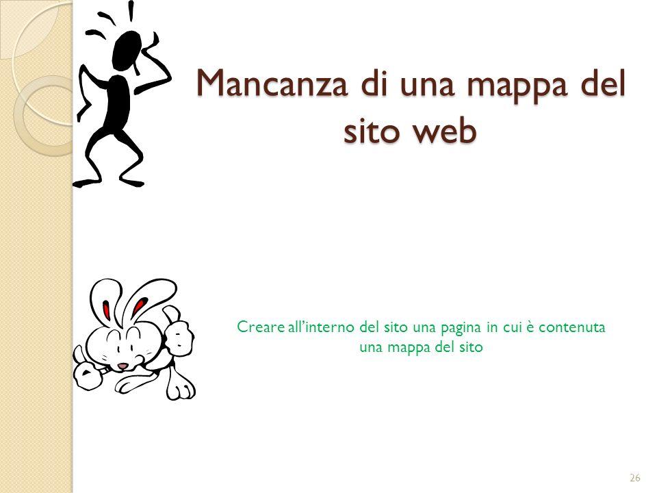 Mancanza di una mappa del sito web Creare allinterno del sito una pagina in cui è contenuta una mappa del sito 26