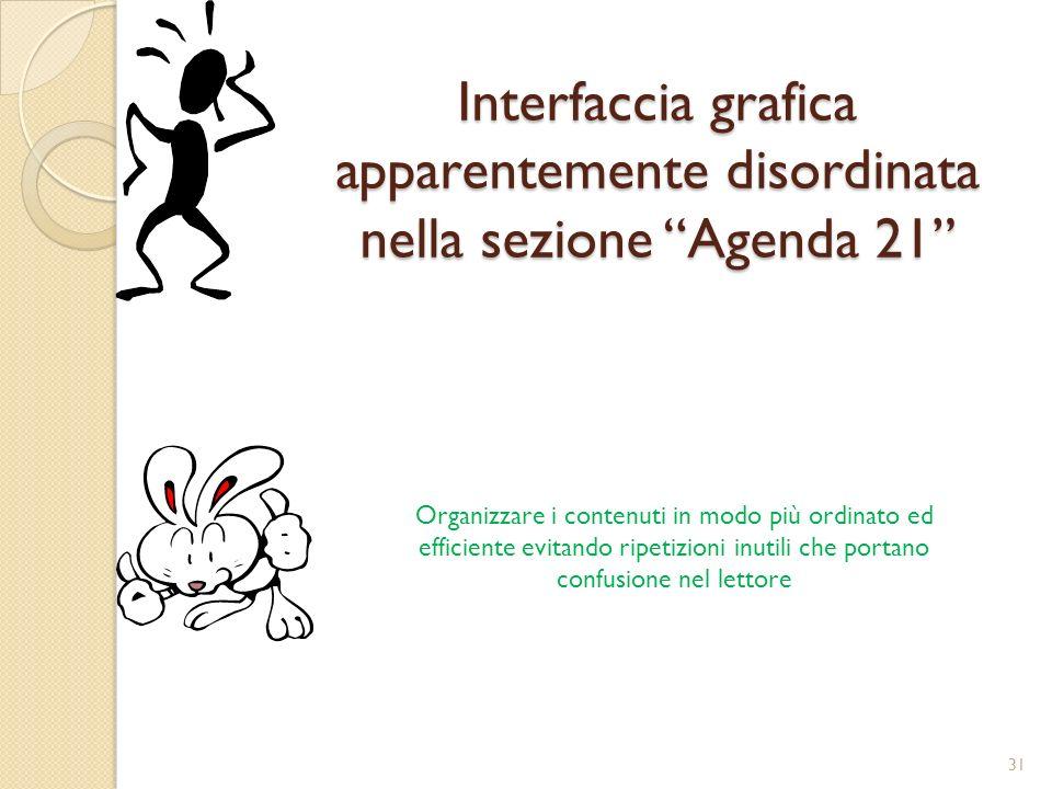 Interfaccia grafica apparentemente disordinata nella sezione Agenda 21 Organizzare i contenuti in modo più ordinato ed efficiente evitando ripetizioni inutili che portano confusione nel lettore 31