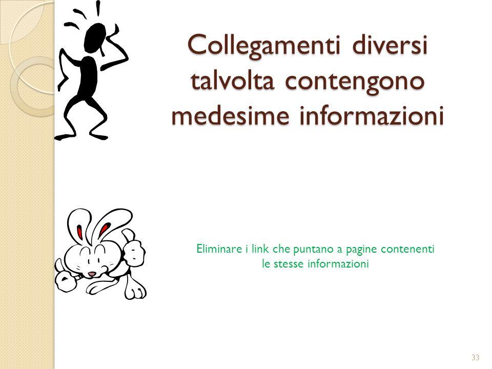 Collegamenti diversi talvolta contengono medesime informazioni Eliminare i link che puntano a pagine contenenti le stesse informazioni 33