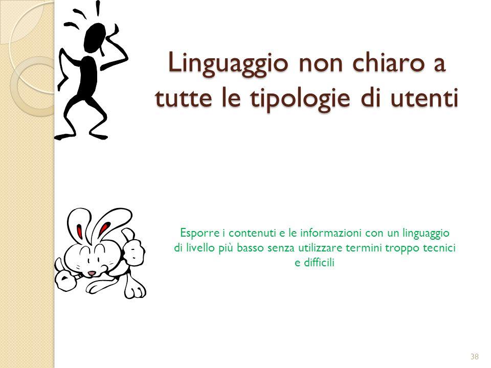 Linguaggio non chiaro a tutte le tipologie di utenti Esporre i contenuti e le informazioni con un linguaggio di livello più basso senza utilizzare termini troppo tecnici e difficili 38