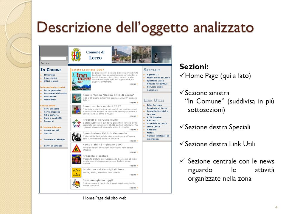 Descrizione delloggetto analizzato Home Page del sito web Sezioni: Home Page (qui a lato) Sezione sinistra In Comune (suddivisa in più sottosezioni) Sezione destra Speciali Sezione destra Link Utili Sezione centrale con le news riguardo le attività organizzate nella zona 4
