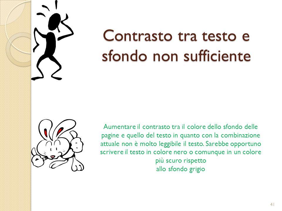 Contrasto tra testo e sfondo non sufficiente Aumentare il contrasto tra il colore dello sfondo delle pagine e quello del testo in quanto con la combinazione attuale non è molto leggibile il testo.