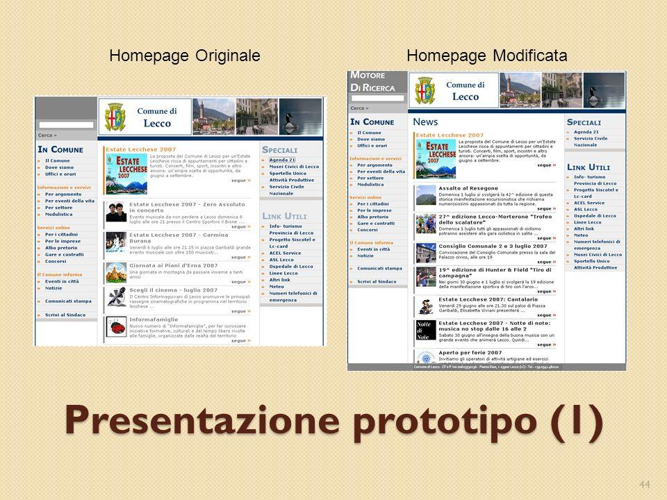 Presentazione prototipo (1) 44 Homepage ModificataHomepage Originale