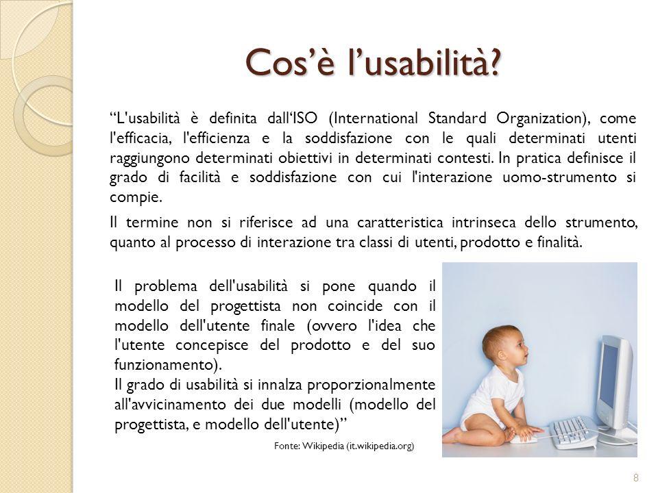Lusabilità secondo Nielsen Secondo Jakob Nielsen lusabilità di un determinato prodotto è divisa in 5 dimensioni: 1.
