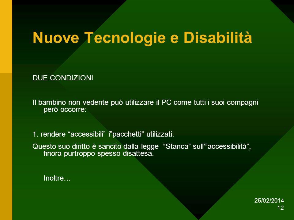 25/02/2014 12 Nuove Tecnologie e Disabilità DUE CONDIZIONI Il bambino non vedente può utilizzare il PC come tutti i suoi compagni però occorre: 1.