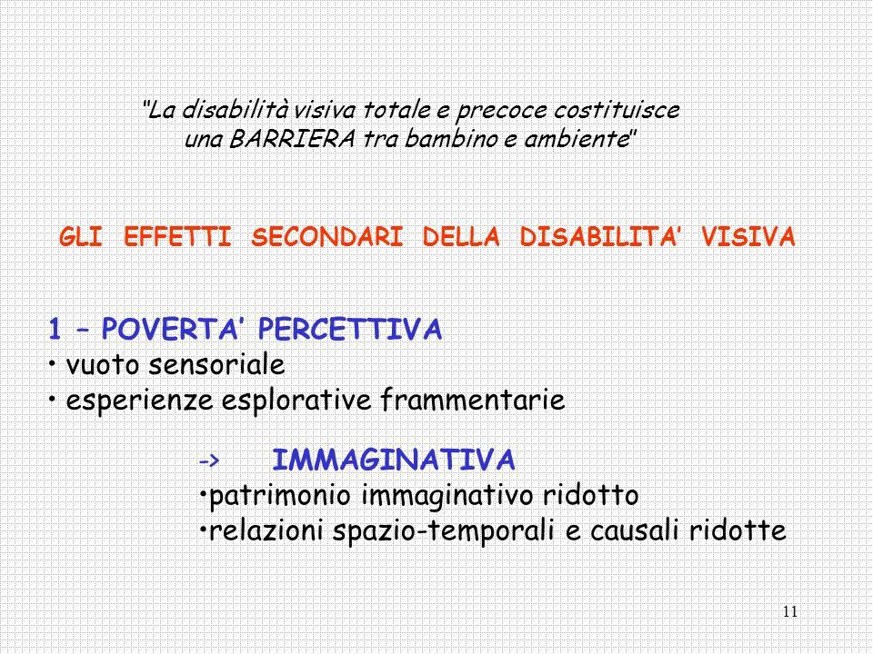 12 2 – RITARDO DELLA MOBILITA VOLONTARIA -> impaccio e inibizione motoria -> stereotipie motorie EFFETTI SECONDARI DELLA DISABILITA VISIVA