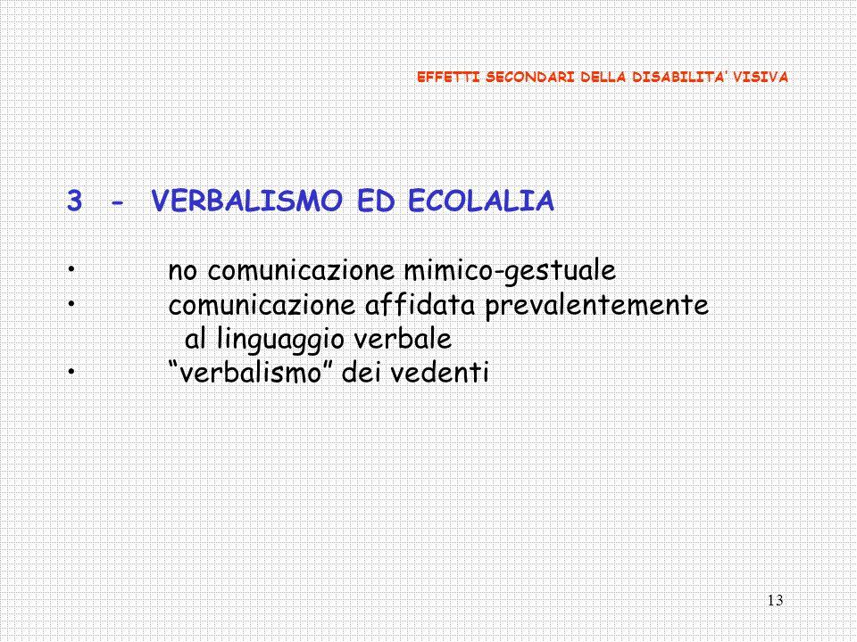 13 3- VERBALISMO ED ECOLALIA no comunicazione mimico-gestuale comunicazione affidata prevalentemente al linguaggio verbale verbalismo dei vedenti EFFE