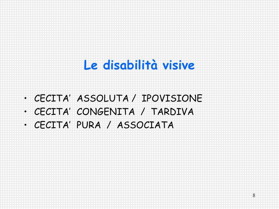 9 La classificazione delle disabilità visive Legge n.